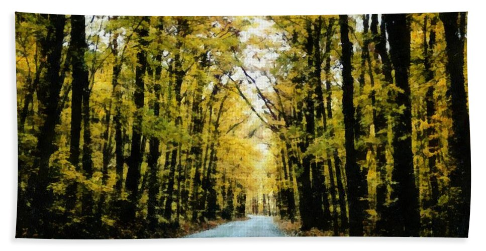 Green Bath Towel featuring the photograph Autumn Road by Michelle Calkins