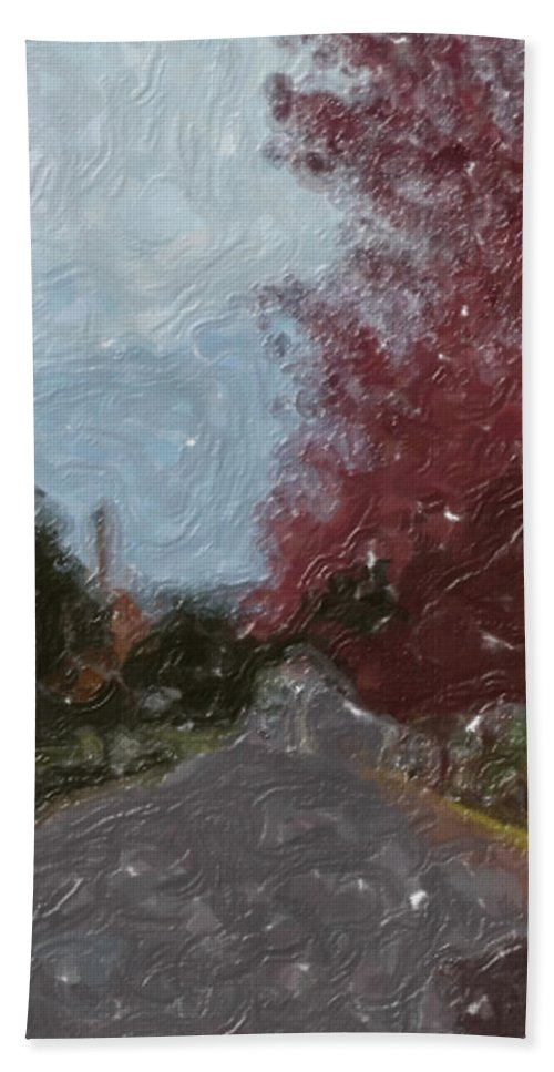 Autumn Hand Towel featuring the painting Autumn Road by Sergey Bezhinets