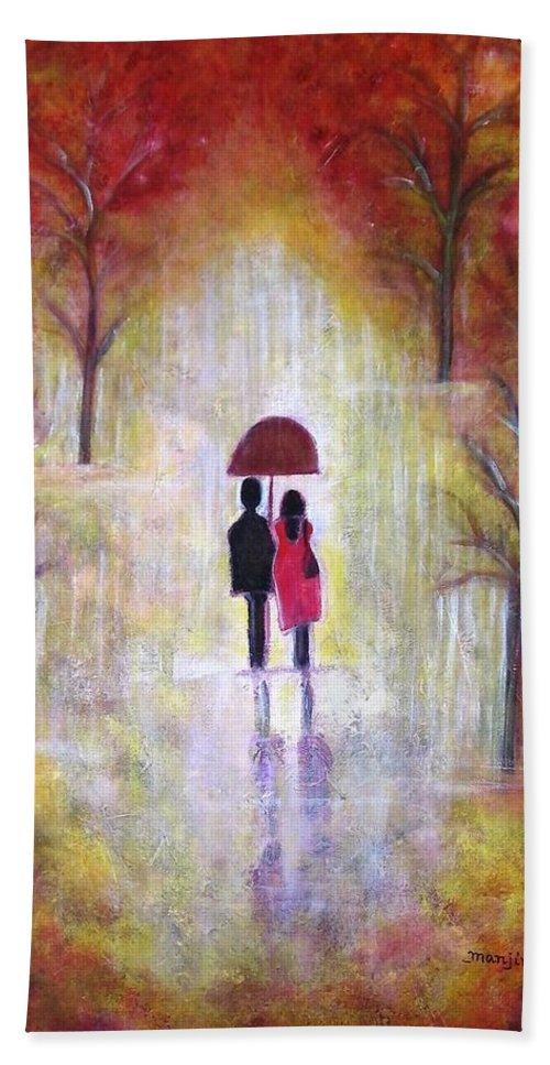 Romantic Painting Figures Romance Umbrella Red Orange People Abstract Trees Rain Yellow Women Bath Sheet featuring the painting Autumn Romance by Manjiri Kanvinde