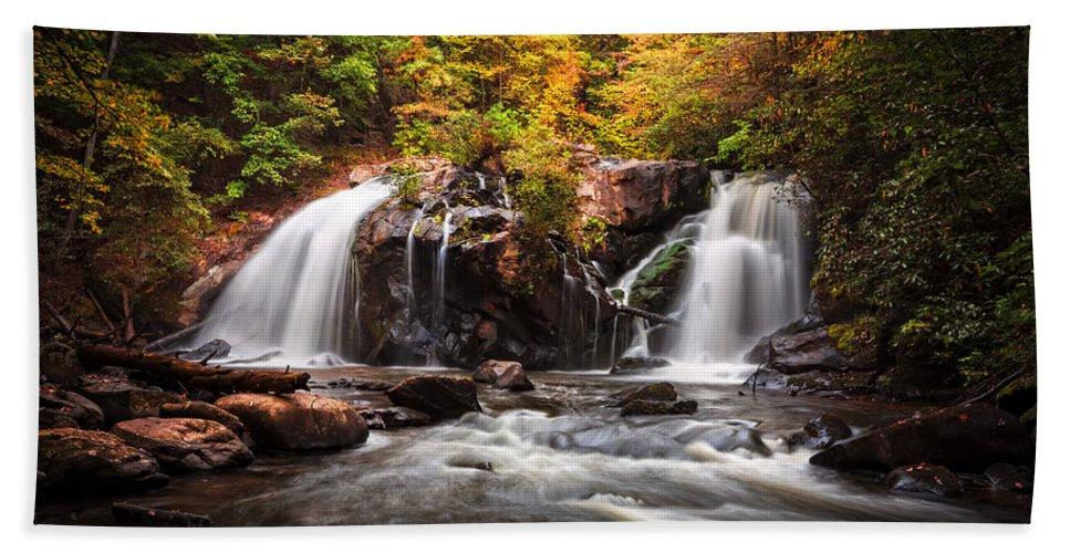 Appalachia Hand Towel featuring the photograph Autumn Rush by Debra and Dave Vanderlaan