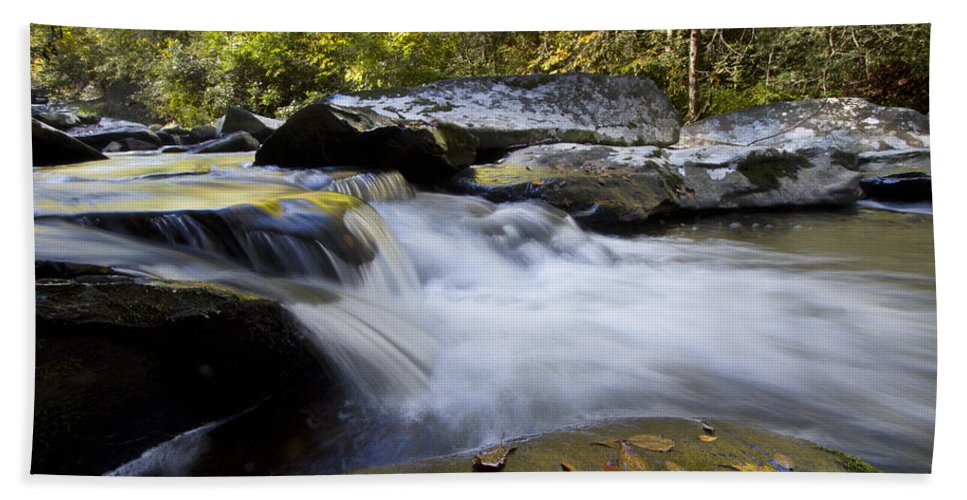 Appalachia Bath Sheet featuring the photograph Autumn Rushing Water by Debra and Dave Vanderlaan