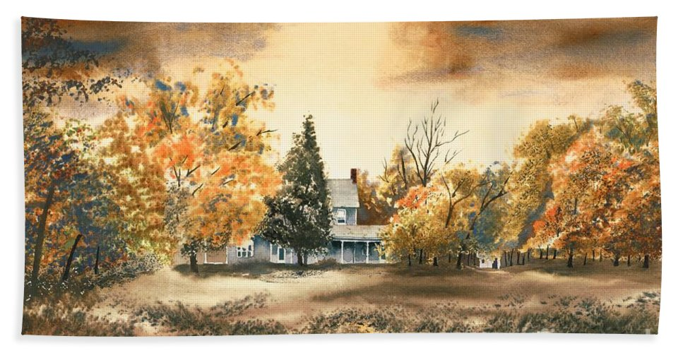 Autumn Sky No W103 Hand Towel featuring the painting Autumn Sky No W103 by Kip DeVore