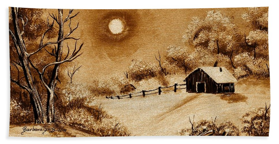 Autumn Snow Bath Sheet featuring the painting Autumn Snow by Barbara Griffin