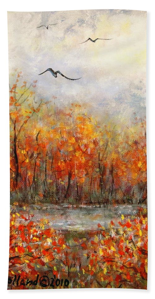 Landscapes Hand Towel featuring the painting Autumn Song by Natalie Holland