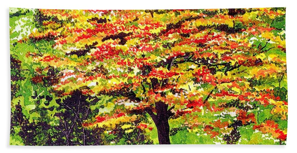 Fine Art Bath Sheet featuring the painting Autumn Splendor by Patricia Griffin Brett