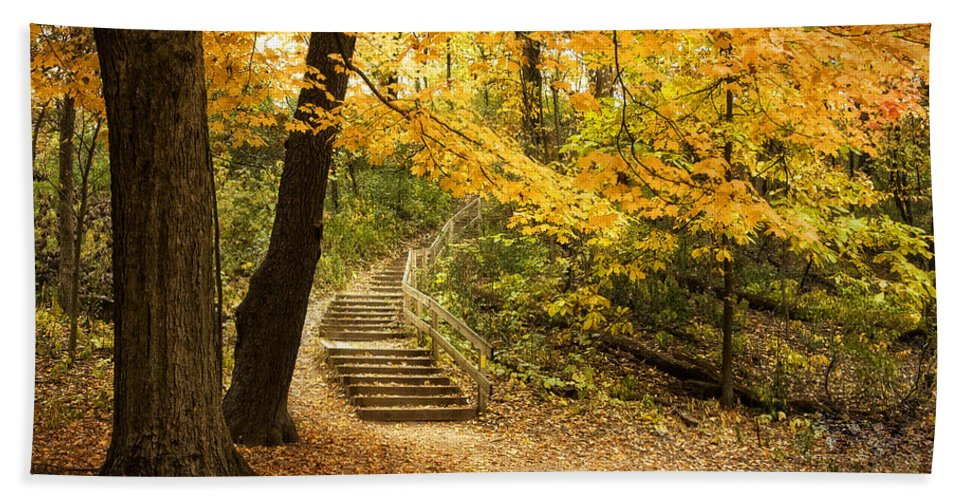 Autumn Bath Towel featuring the photograph Autumn Stairs by Scott Norris