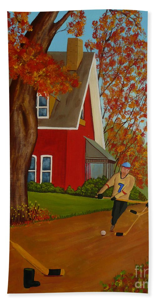 Street Hockey Hand Towel featuring the painting Autumn Street Hockey by Anthony Dunphy