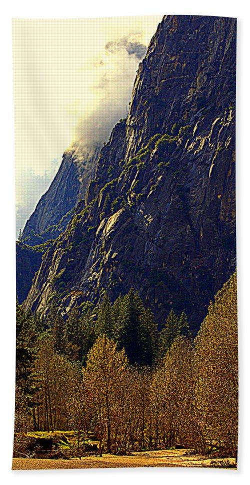 Mountains Hand Towel featuring the photograph Autumn Sun Glow by Lynn Bawden