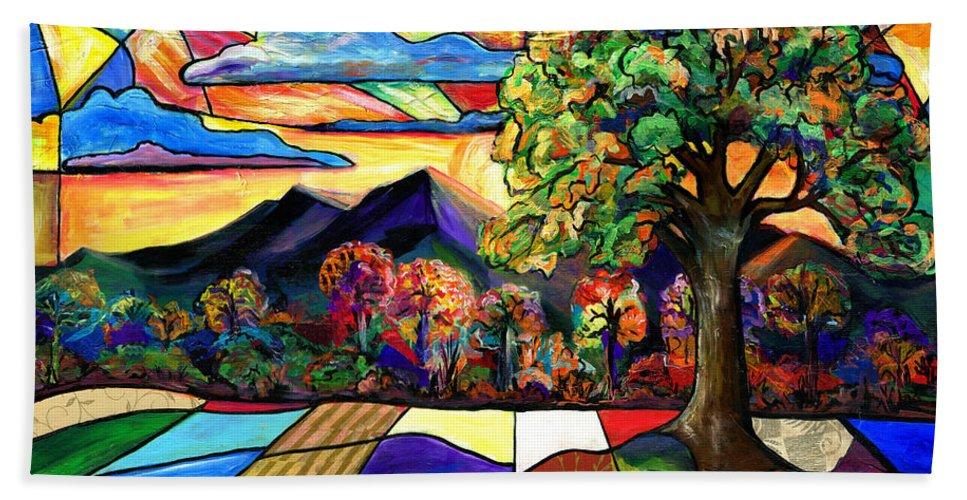 Everett Spruill Bath Towel featuring the painting Autumn Sunrise by Everett Spruill
