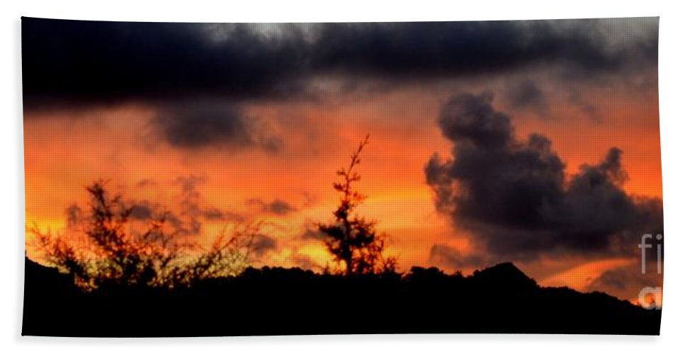 Sunrise Bath Sheet featuring the photograph Autumn Sunrise From The Back Deck by Mary Deal