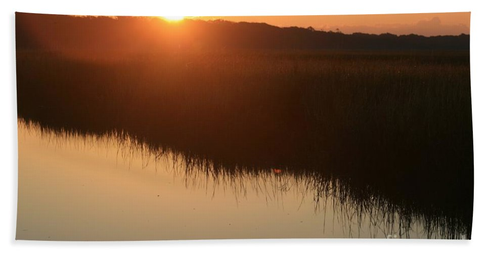Sunrise Bath Towel featuring the photograph Autumn Sunrise Over The Marsh by Nadine Rippelmeyer