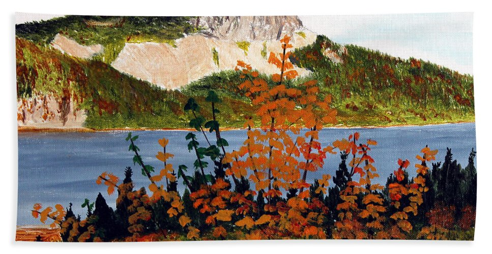 Barbara Griffin Bath Sheet featuring the painting Autumn Sunset On The Hills by Barbara Griffin