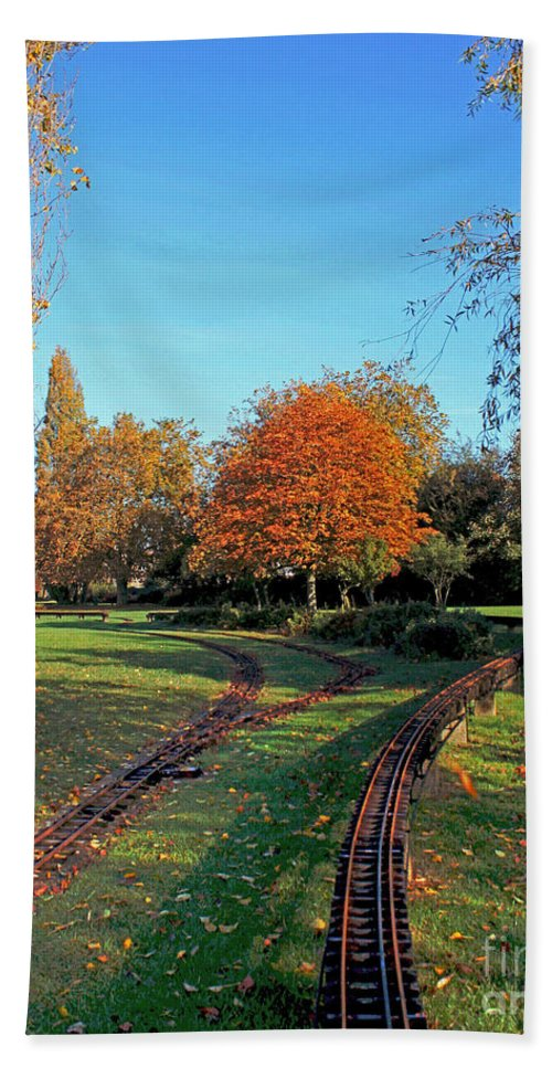 Autumn Woodland Hand Towel featuring the photograph Autumn Tracks by Terri Waters