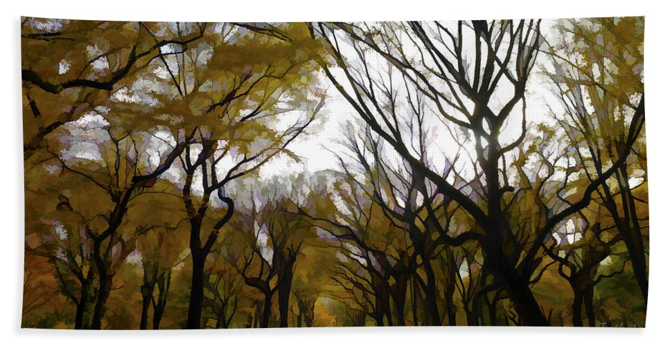 Trees Hand Towel featuring the photograph Autumn Trees Panoramic by Joseph Hedaya