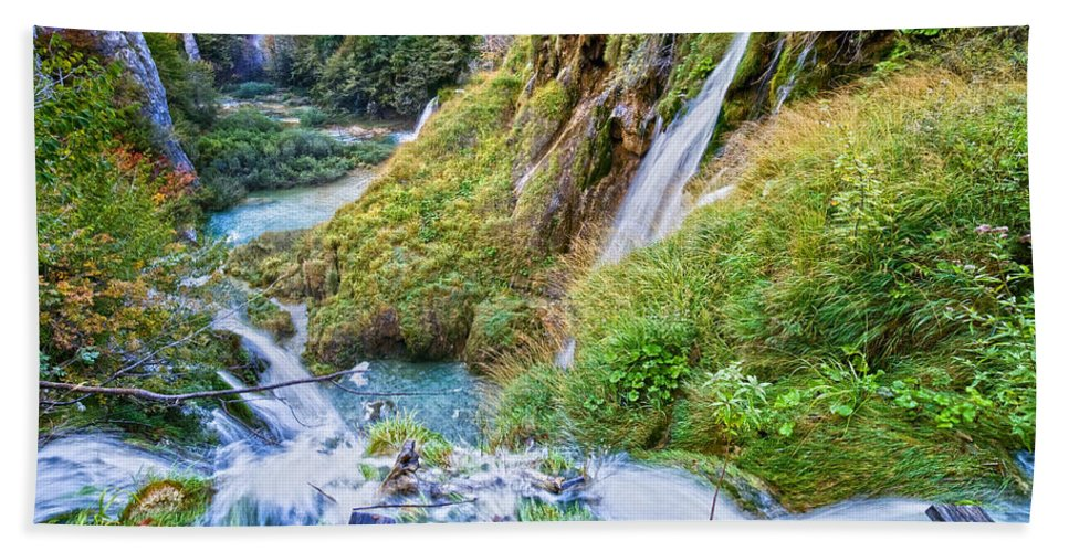 Autumn Hand Towel featuring the photograph Autumn Valley Waterfalls by Artur Bogacki
