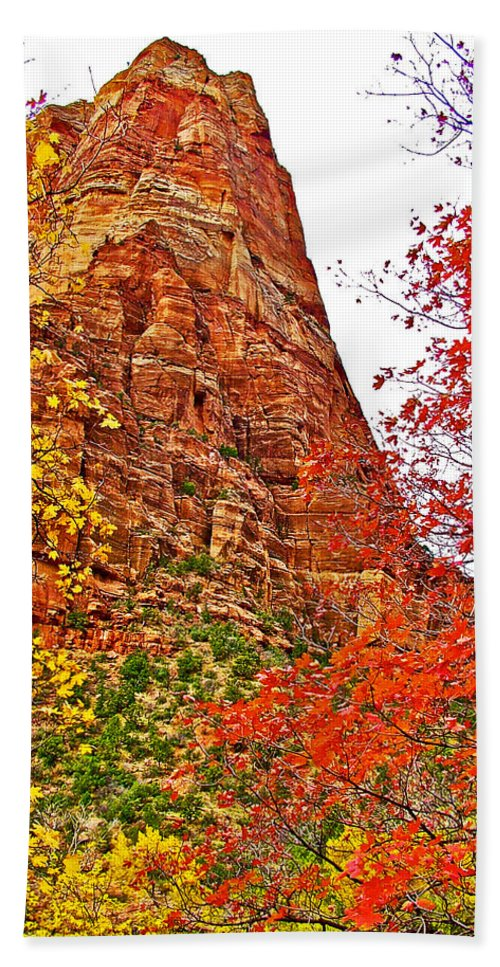 Autumn View Along Zion Canyon Scenic Drive In Zion Canyon In Zion National Park Bath Sheet featuring the photograph Autumn View Along Zion Canyon Scenic Drive In Zion National Park-utah by Ruth Hager