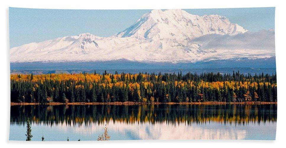 Alaska Hand Towel featuring the photograph Autumn View Of Mt. Drum - Alaska by Juergen Weiss