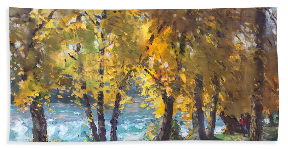 Autumn Hand Towel featuring the painting Autumn Walk by Ylli Haruni
