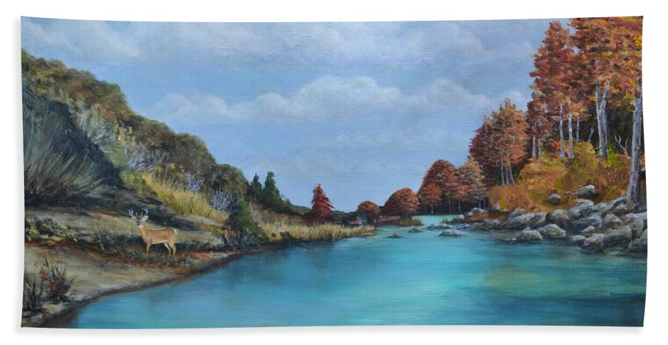 Texas Landscape Bath Sheet featuring the painting Autumn Watch by Karen Butcher