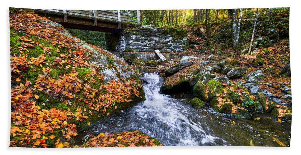 20 Bath Sheet featuring the photograph Autumn Waterfall by Debra and Dave Vanderlaan