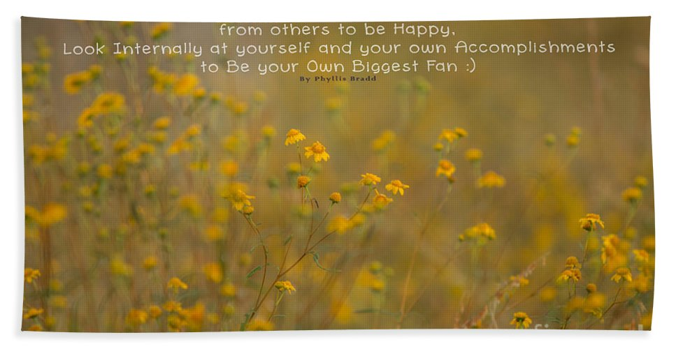 Nature Hand Towel featuring the photograph Autumn Wildflowers W Quote by Phyllis Bradd