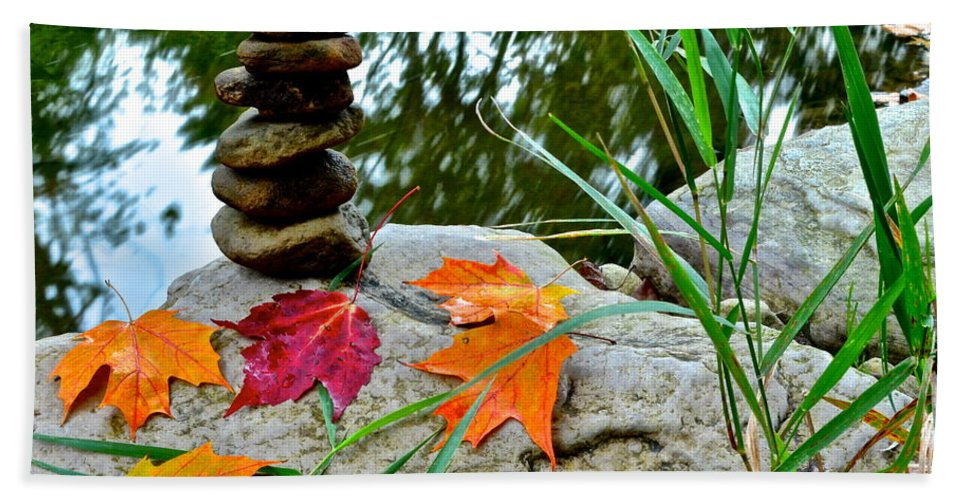 Autumn Bath Sheet featuring the photograph Autumn Zen by Frozen in Time Fine Art Photography
