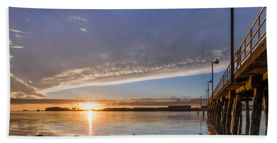 Humboldt Bay Hand Towel featuring the photograph Autumnal Sunset At Del Norte Pier by Greg Nyquist