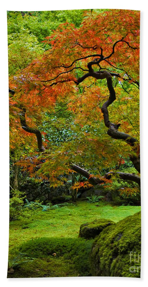 Japanese Bath Sheet featuring the photograph Autumn's Paintbrush by Jean Hildebrant