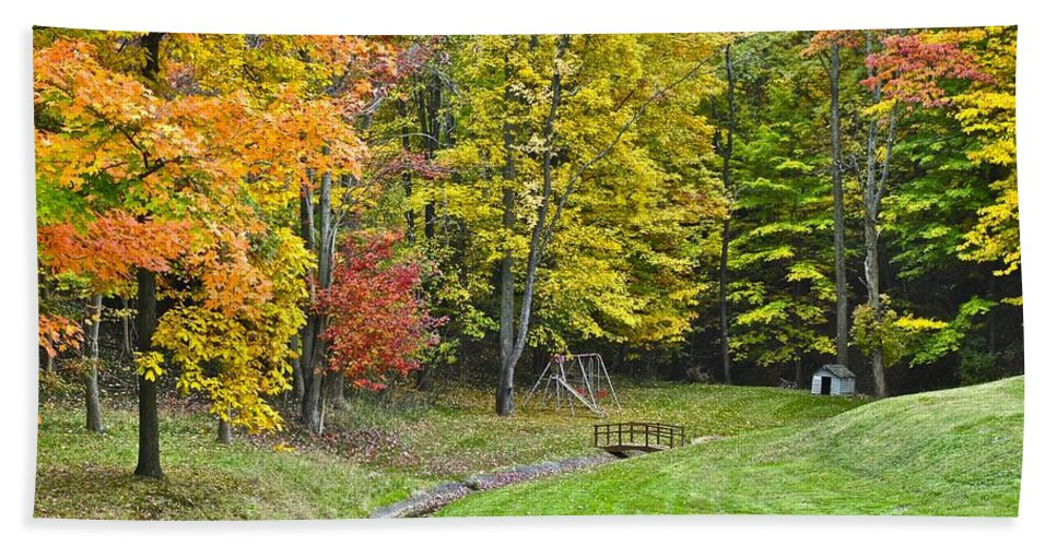 Landscape Bath Sheet featuring the photograph Autumns Playground by Frozen in Time Fine Art Photography