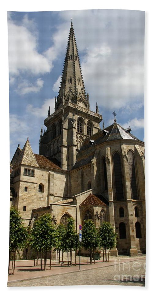 Cathedral Hand Towel featuring the photograph Autun Cathedral View Burgundy by Christiane Schulze Art And Photography