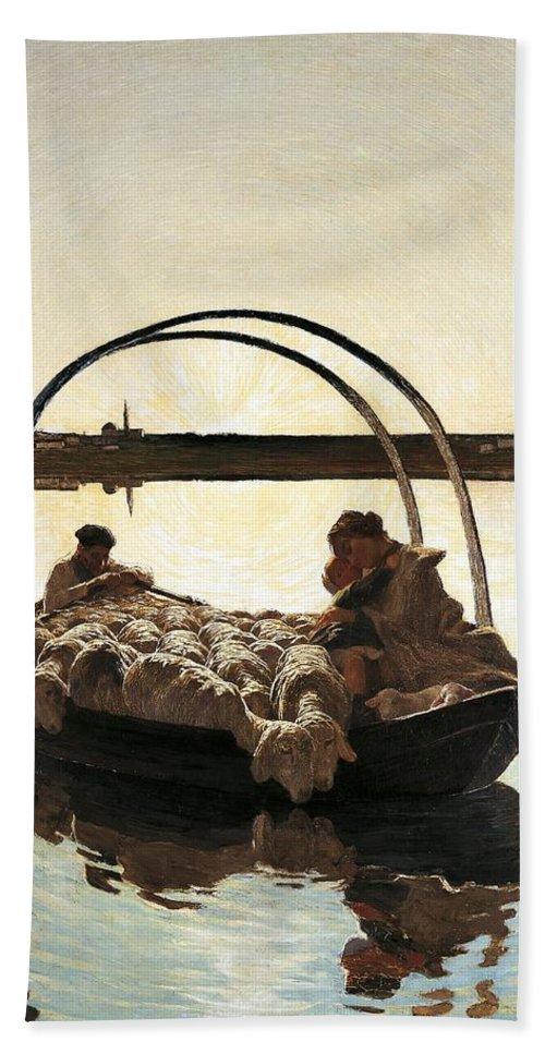 Painting; 19th Century Painting; Europe; Italy; Segantini Giovanni; Family; Realism Bath Sheet featuring the painting Ave Maria by Giovanni Segantini