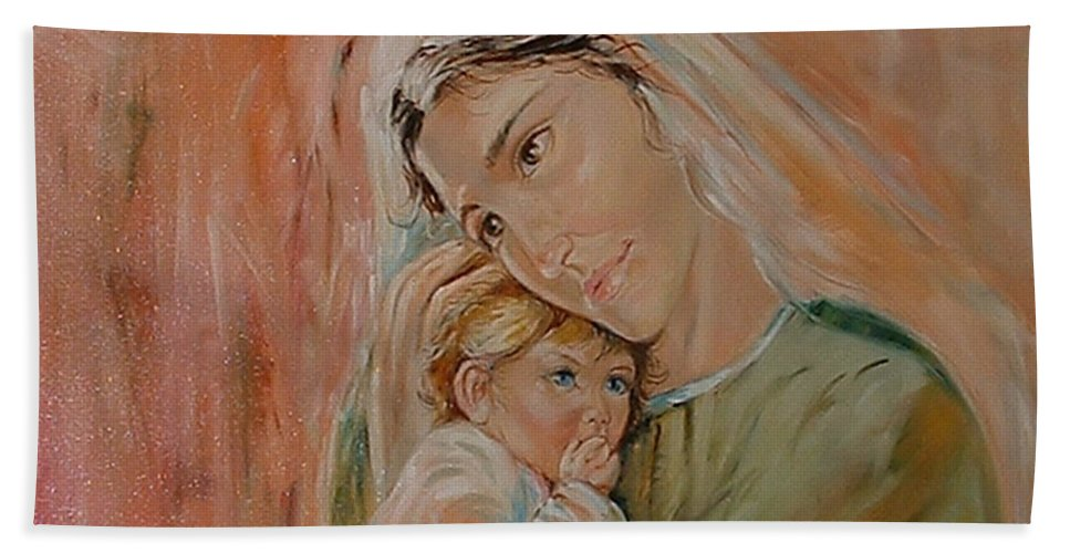 Classic Art Hand Towel featuring the painting Ave Maria by Silvana Abel