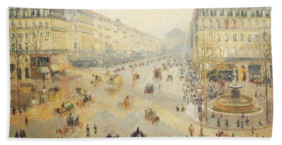 Painting; Paris; Pissarro Camille; Impressionism (france 1874-1886); Impressionist Bath Sheet featuring the painting Avenue De L'opera In Paris by Camille Pissarro