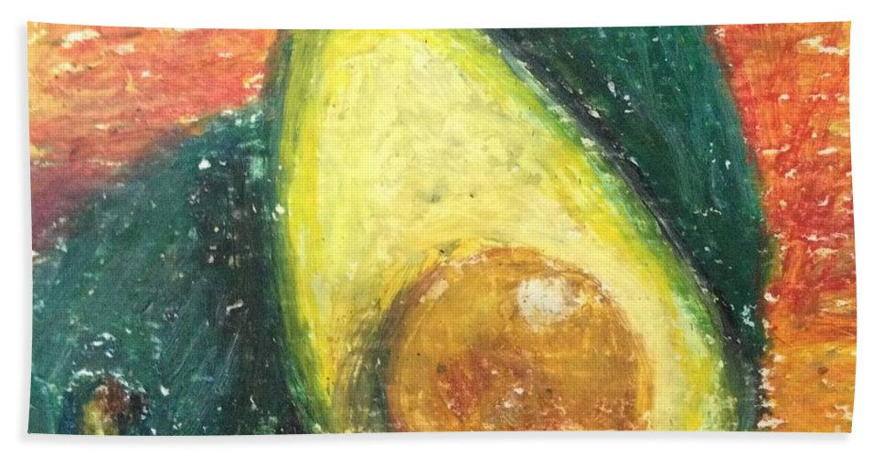 Avocado Bath Sheet featuring the painting Avocados by Laurie Morgan