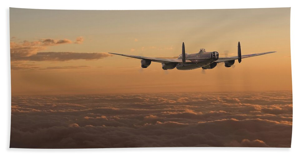 Aircraft Hand Towel featuring the digital art Avro Lancaster - Homeward by Pat Speirs
