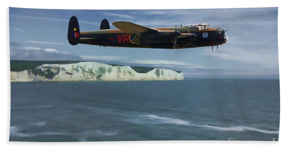 Avro Lancaster Bath Sheet featuring the digital art Avro Lancaster by Tommy Anderson