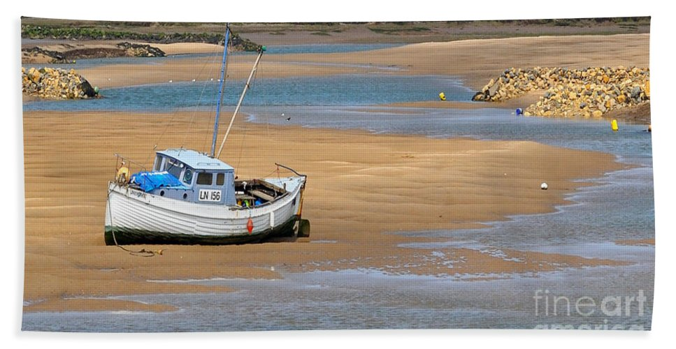 Boat Hand Towel featuring the photograph Awaiting The Tide by Bel Menpes