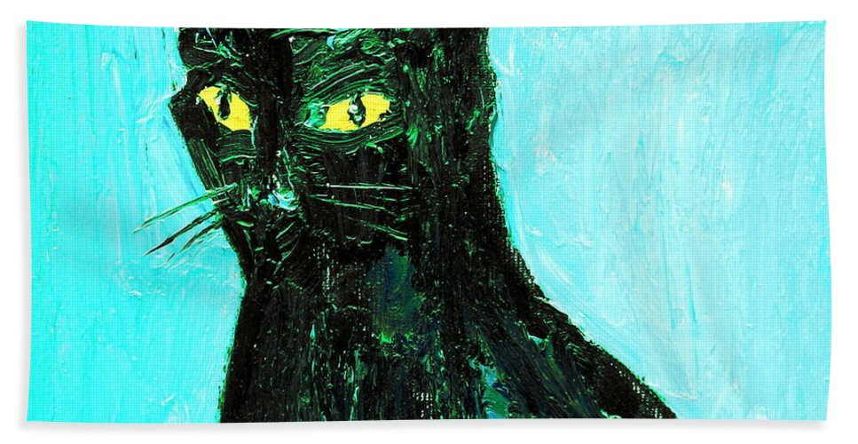 Cat Bath Sheet featuring the painting Awake To The Invisible by Fabrizio Cassetta