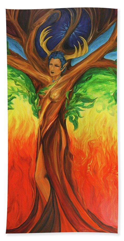 Landscape Hand Towel featuring the painting Awakening The Chakra Tree by Jennifer Christenson