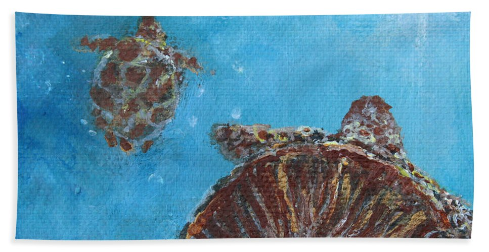 Sea Turtle Bath Sheet featuring the painting Awakening To Opportunities by Ashleigh Dyan Bayer
