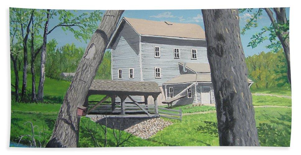 Award-winning Hand Towel featuring the painting Award-winning Painting Of Beckman's Mill by Norm Starks