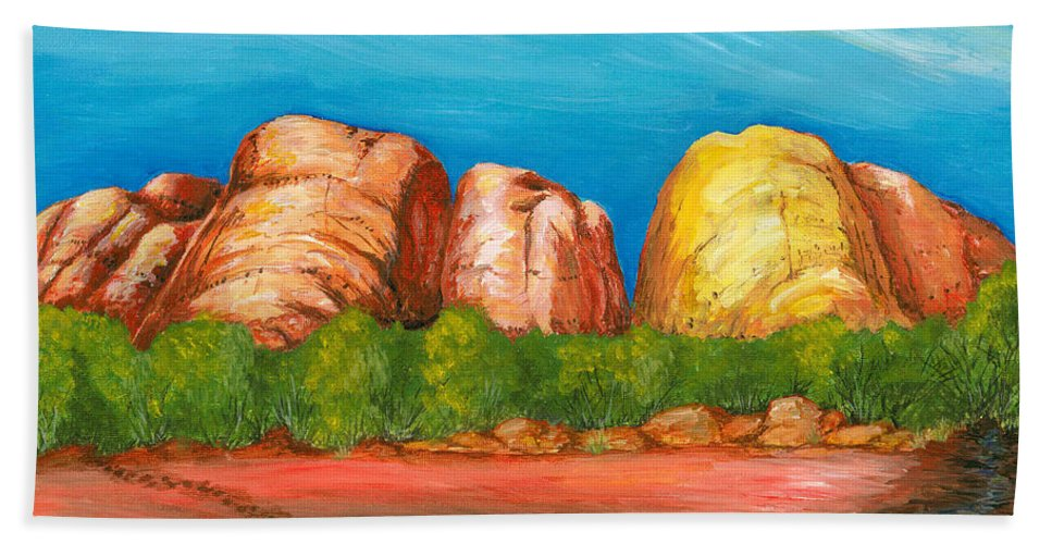 Landscape Bath Sheet featuring the painting Ayers Rock End by Carlene Salazar