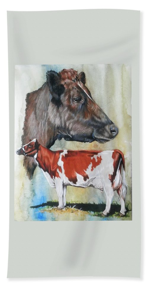 Cow Hand Towel featuring the mixed media Ayrshire Cattle by Barbara Keith