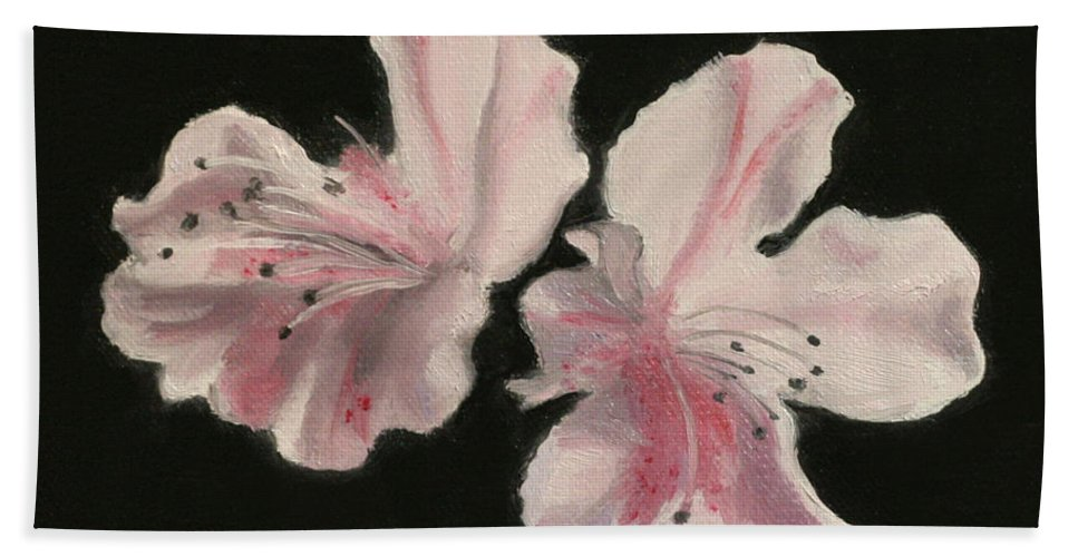 Still Life Bath Sheet featuring the painting Azaleas by Sarah Parks