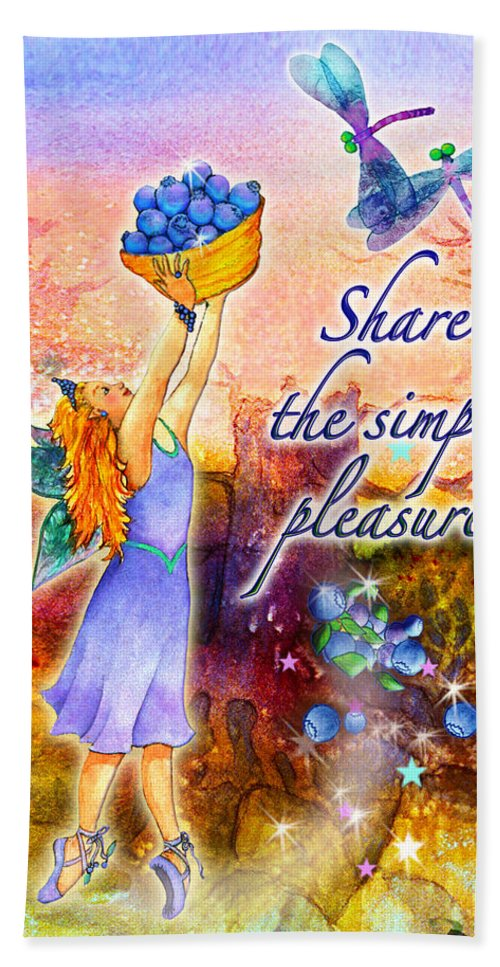 Fairy Bath Sheet featuring the painting Azuria - Share The Simple Pleasures by Teresa Ascone