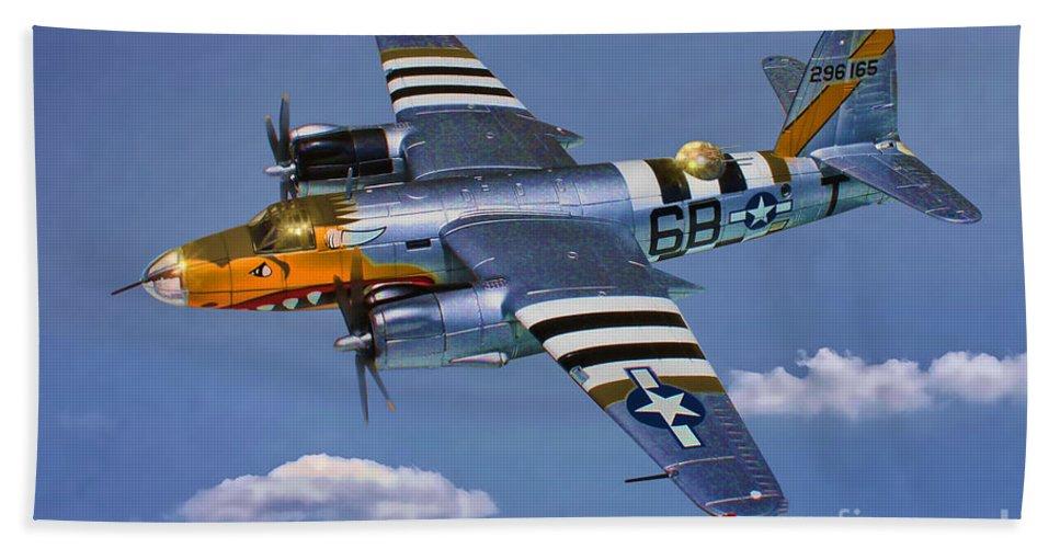 Martin B-26b Marauder Bath Sheet featuring the digital art B-26b Marauder by Tommy Anderson