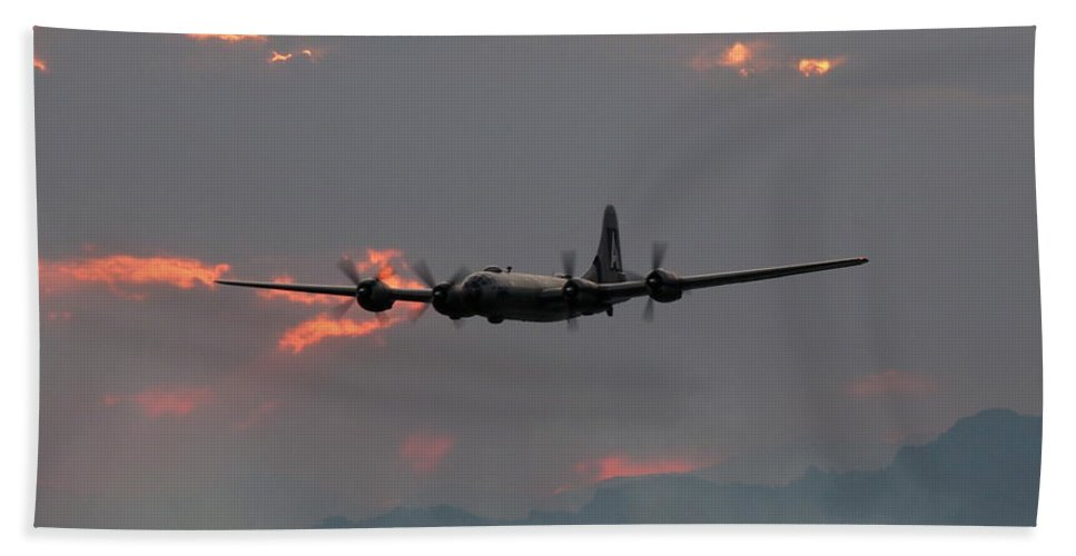 Aircraft Bath Sheet featuring the photograph B-29 Bomber Aircraft In Sunset Flight by Amy McDaniel