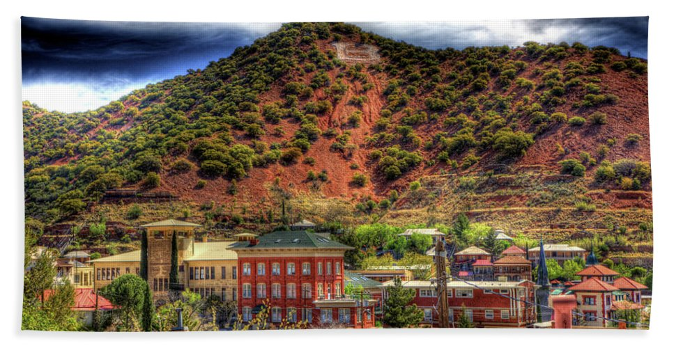 B Hand Towel featuring the photograph B Hill Over Historic Bisbee by Charlene Mitchell