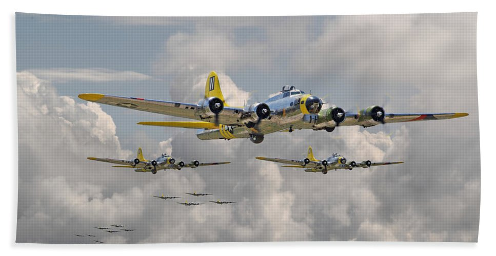 Aircraft Bath Sheet featuring the digital art B17 486th Bomb Group by Pat Speirs