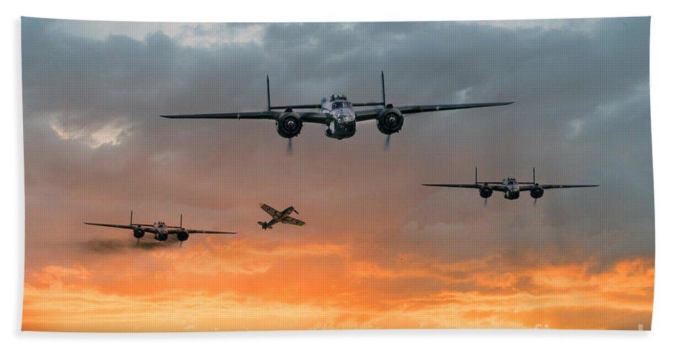B-25 Mitchell Bomber Bath Sheet featuring the digital art B25 Escape by J Biggadike